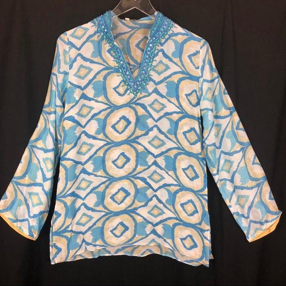 d99fff2f470 bella tu Tops - BELLA TU blue white tan beaded tunic blouse . S